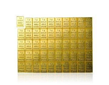 Zlatý investiční slitek tabulkový (Tafelbarren) 50 gramů – přední strana