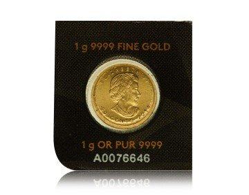 Zlatá investiční mince Maple Leaf 1 gram – zadní strana