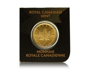 Zlatá investiční mince Maple Leaf 1 gram – přední strana