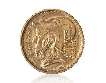 Zlatá investiční mince Britannia 1/4 Oz 916,6/1000 (do roku 2012) – přední strana