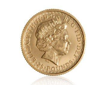 Zlatá investiční mince Britannia 1/4 Oz 916,6/1000 (do roku 2012) – zadní strana
