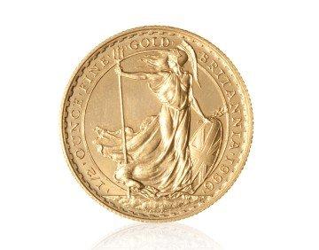 Zlatá investiční mince Britannia 1/2 Oz 916,6/1000 (do roku 2012) – přední strana