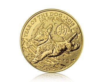 Zlatá investiční mince britský lunarní rok Pes 2018 31,1 gramu (1 Oz) – přední strana
