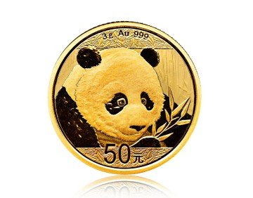 Zlatá investiční mince China Panda (Čínská panda) 3 gramy – přední strana