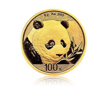 Zlatá investiční mince China Panda (Čínská panda) 8 gramů – přední strana
