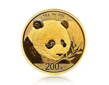 Zlatá investiční mince China Panda (Čínská panda) 15 gramů – přední strana
