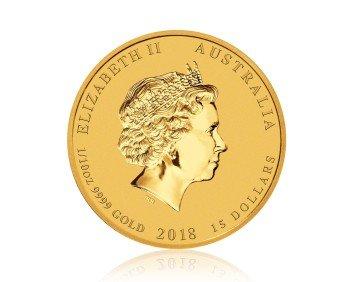 Zlatá investiční mince Australský lunární rok 2018 Pes 1/10 Oz – zadní strana