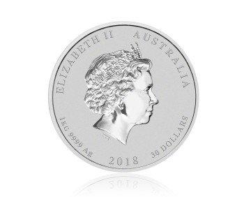 Stříbrná investiční mince Australský lunární rok 2018 Pes 1000 g – zadní strana