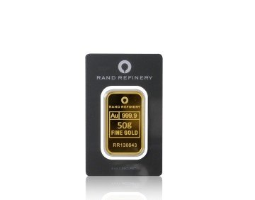 Zlatý investiční slitek Rand Refinery 50 gramů – přední strana
