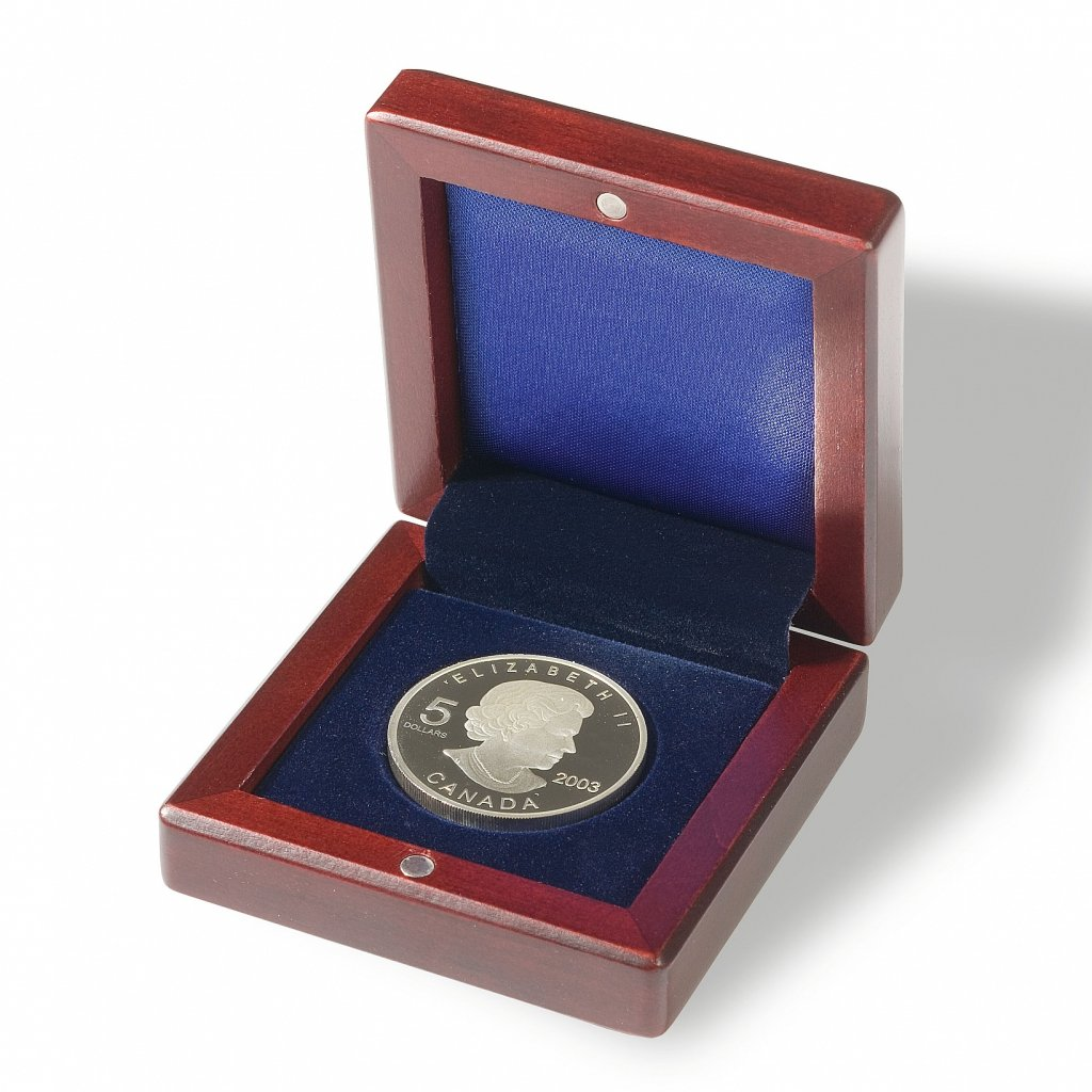 Etue Voltera dřevěná na mince s kruhovým vlisem Ø 41 mm