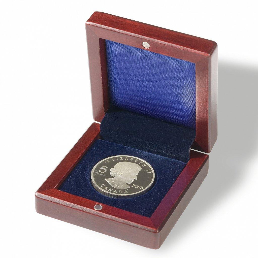 Etue Voltera dřevěná na mince s kruhovým vlisem Ø 60 mm – otevřená