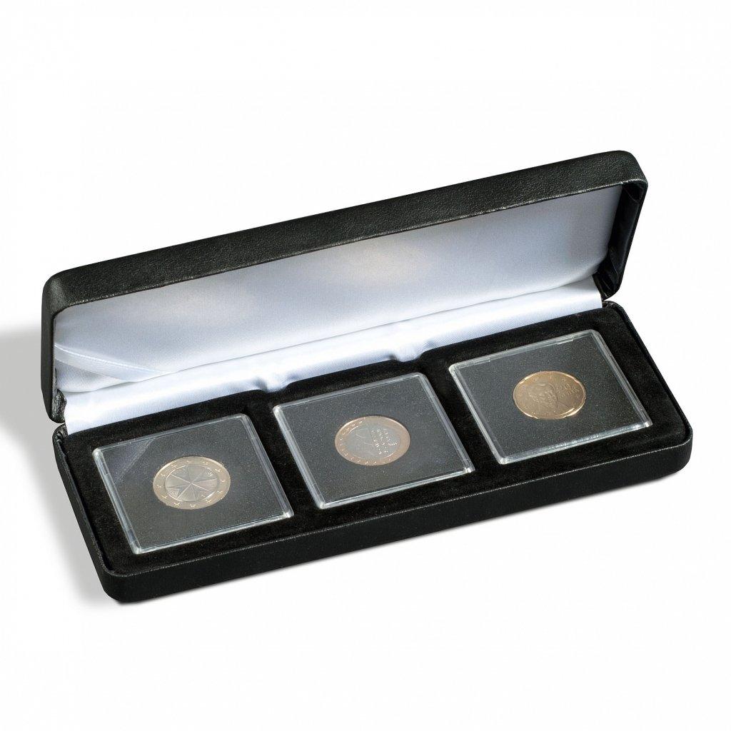 Etue Nobile černá koženka pro 3 čtvercové mincovní kapsle 50 x 50 mm – otevřená
