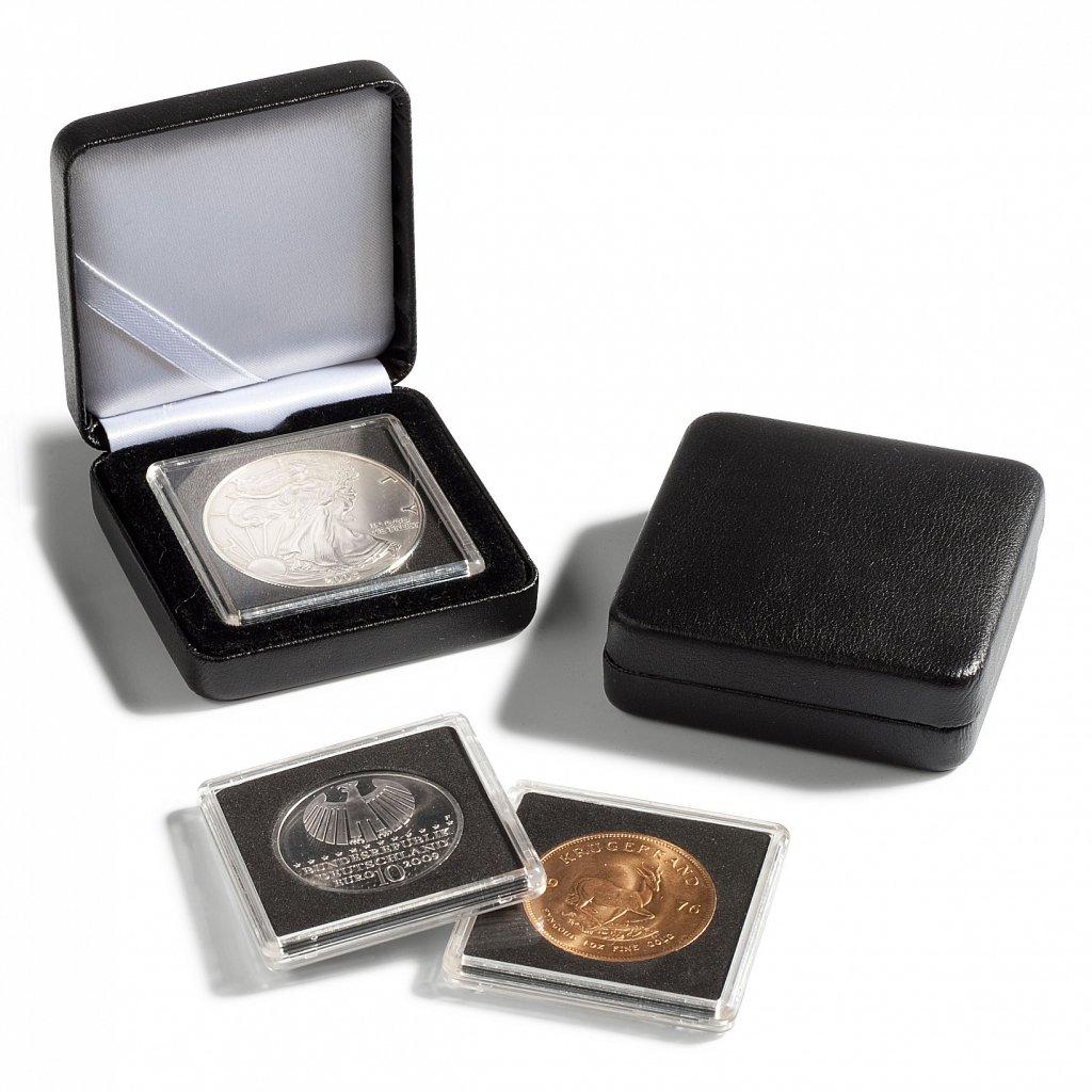 Etue Nobile černá koženka pro 1 čtvercovou mincovní kapsli 50 x 50 mm