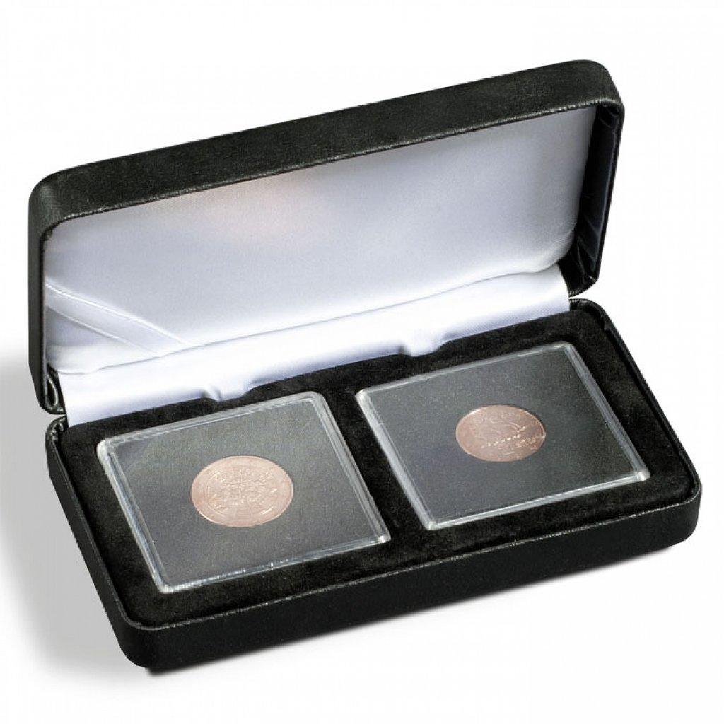 Etue Nobile černá koženka pro 2 čtvercové mincovní kapsle 50 x 50 mm – otevřená