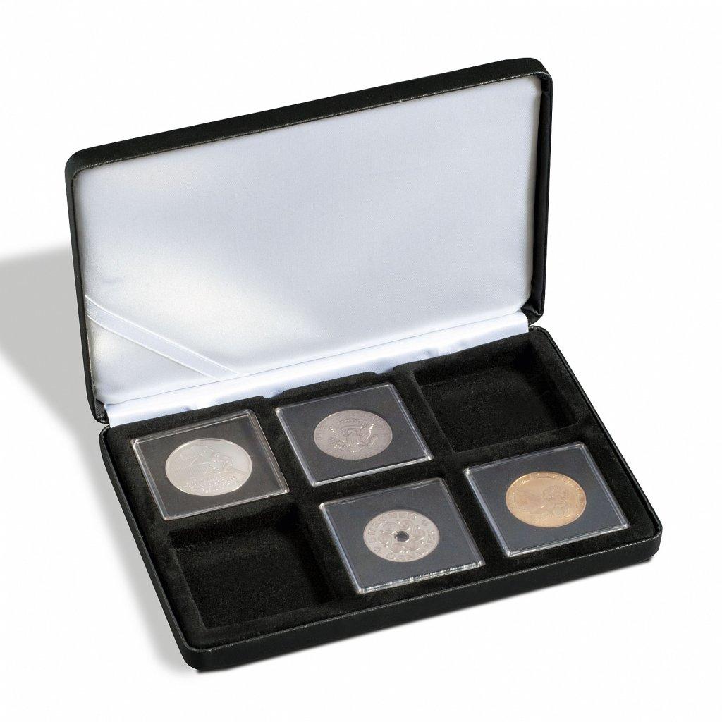 Etue Nobile černá koženka pro 6 čtvercových mincovních kapslí 50 x 50 mm