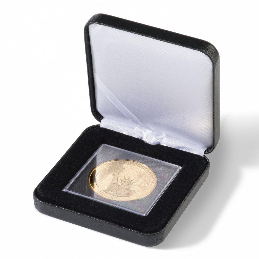 Etue Nobile černá koženka pro 1 XL čtvercovou mincovní kapsli 67 x 67 mm – otevřená