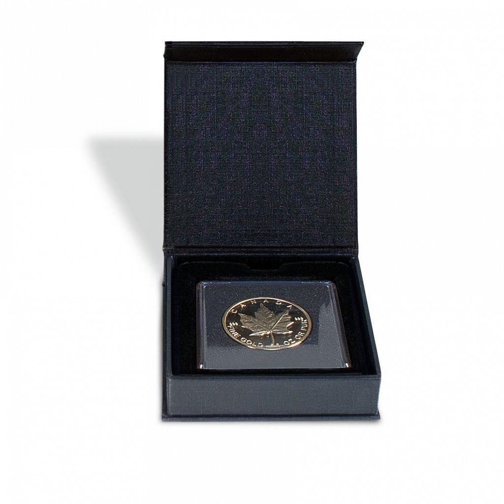 Etue AIRBOX černý karton pro 1 čtvercovou mincovní kapsli 50 x 50 mm – otevřená