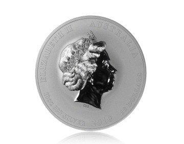 Stříbrná mince Australský lunární rok 2010 Tygr 311,04 gramu - přední strana