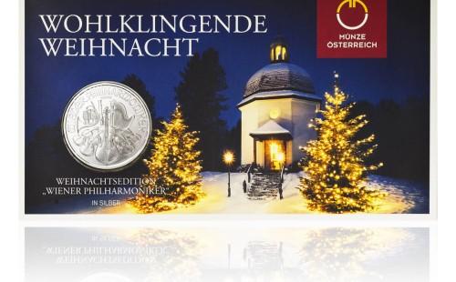 Stříbrná investiční mince Wiener Philharmoniker 31,1 gramu (1 Oz) – první strana