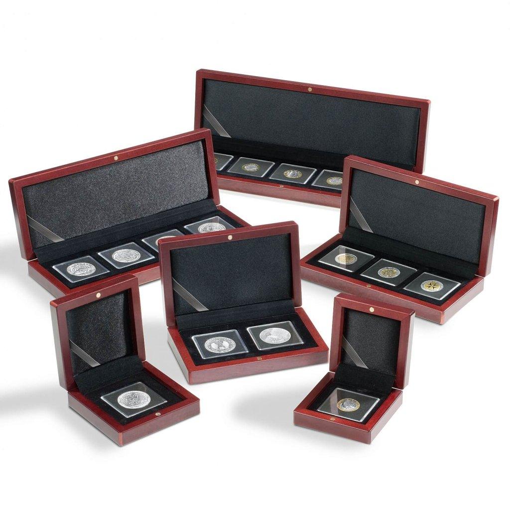 Etuje dřevěná VOLTERA na 3 čtvercové mincovní kapsle 50 x 50 mm.