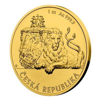 Zlatá uncová investiční mince Český lev 2019 stand 31,1 g - natočená strana