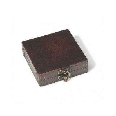 Etuje dřevěná RUSTIKÁLNÍ PRO 1 čtvercovou mincovní kapslí 50 x 50 mm - první obrázek