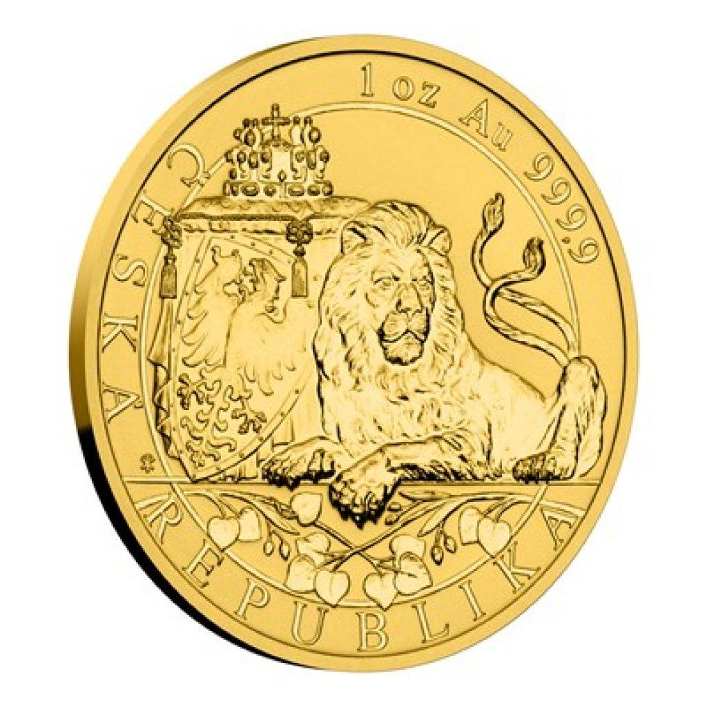 Zlatá uncová investiční mince Český lev 2019 reverse proof 31,1 g - pootočená strana