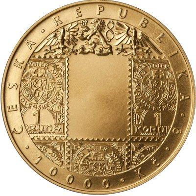 Zlatá investiční mince 10000 Kč Zavedení československé měny STANDARD 31,1 g - přední strana