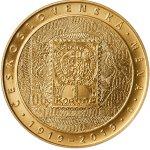 Zlatá investiční mince 10000 Kč Zavedení československé měny STANDARD 31,1 g - zadní strana