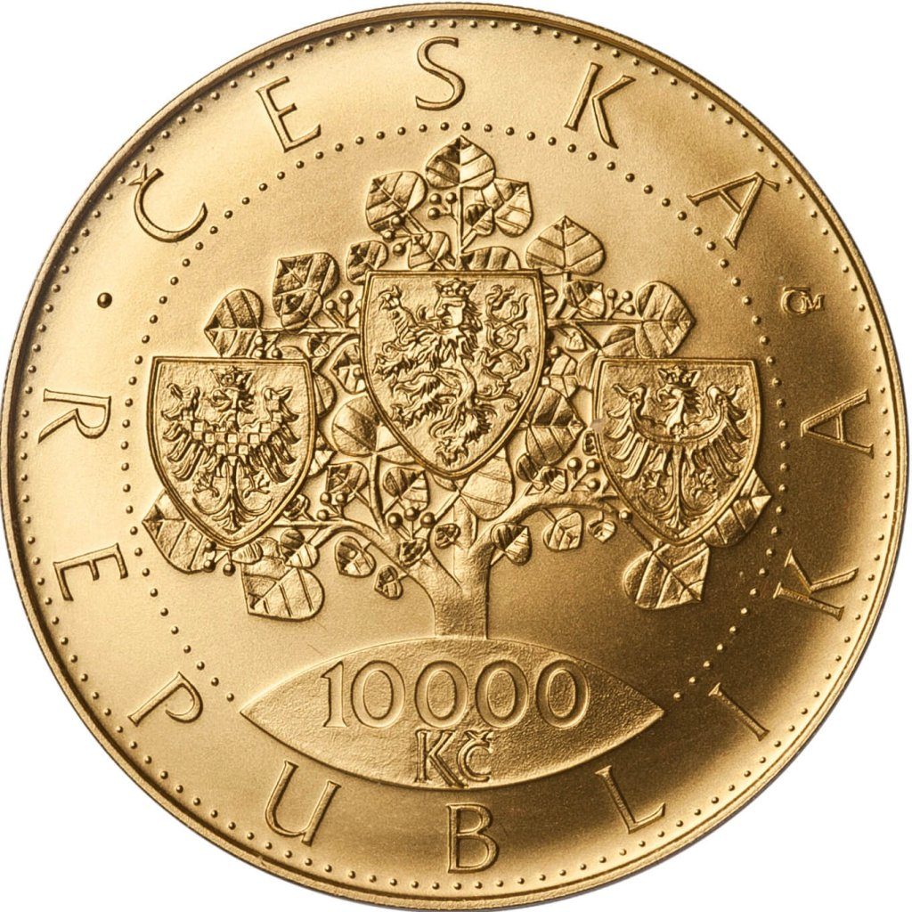 Zlatá investiční mince 10000 Kč Vznik Československa 1 Oz 2018 b.k. – přední strana
