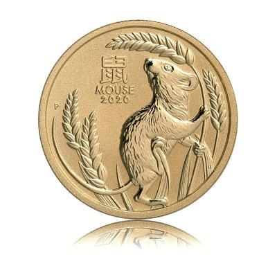 Zlatá investiční mince Australský lunární rok 2020 Myš 15,55 g (1/2 Oz) – první strana