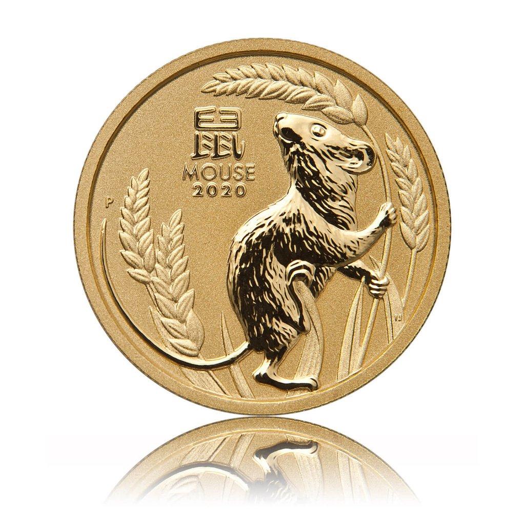 Zlatá investiční mince Australský lunární rok 2020 Myš 7,78 g (1/4 Oz) – první strana