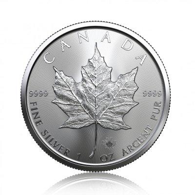 Stříbrná investiční mince Maple Leaf 31,1 gramu (1 Oz) – první strana