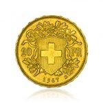 Zlatá investiční mince Vreneli 20 SFRS 5,81 g - druhá strana