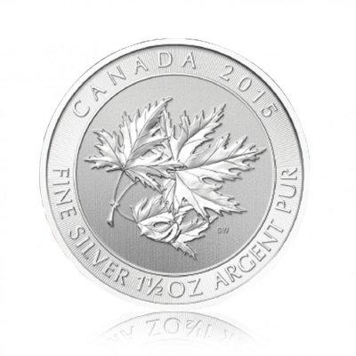 Stříbrná investiční mince Multi Maple Leaf 1,5 Oz – první strana