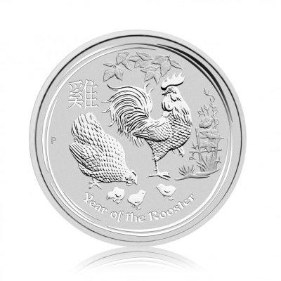 Stříbrná investiční mince Australský lunární rok 2017 Kohout 31,1 g – první strana