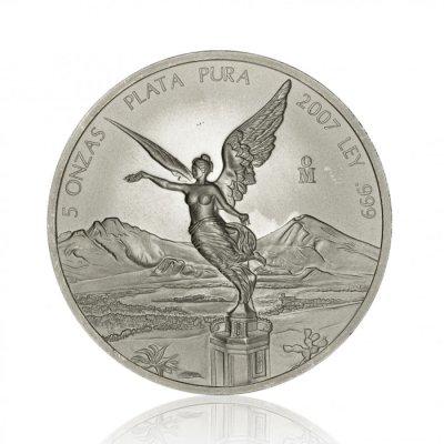 Stříbrná investiční mince Mexico Libertad 5 Oz – první strana