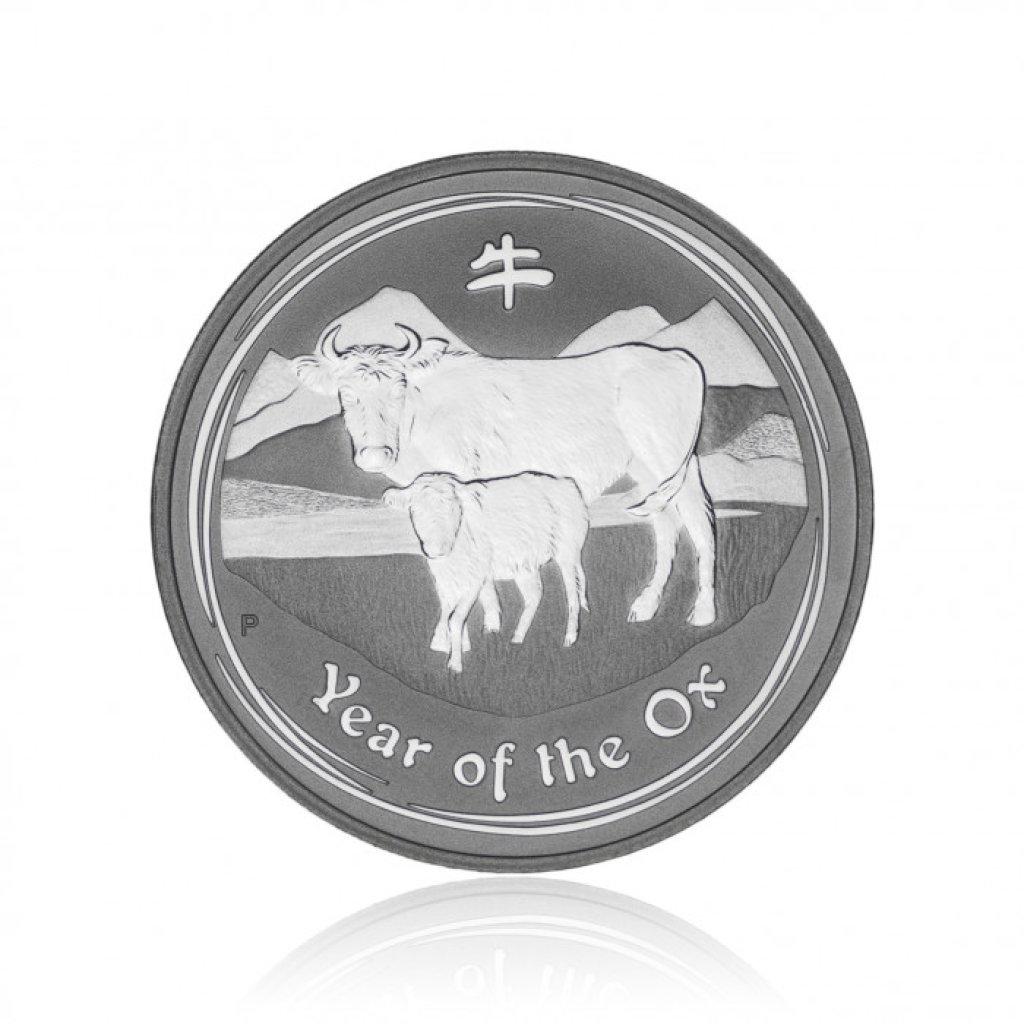 Stříbrná investiční mince Australská Lunární Série II. 2009 Buvol 31,1 g (1 Oz) – první strana