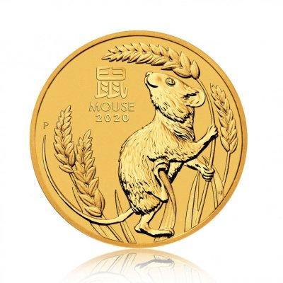 Zlatá investiční mince Australský Lunární rok 2020 Myš 1,56 g - první strana