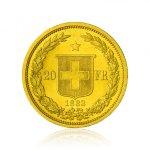 Zlatá investiční mince Helvetia 20 SFRS 5,81 g - druhá strana