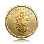 Zlatá investiční mince Maple Leaf 3,11 g – druhá strana