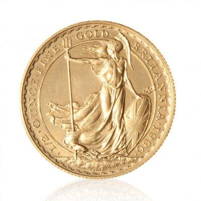 Zlatá investiční mince Britannia 1/2 Oz 916,6/1000 (do roku 2012) – první strana