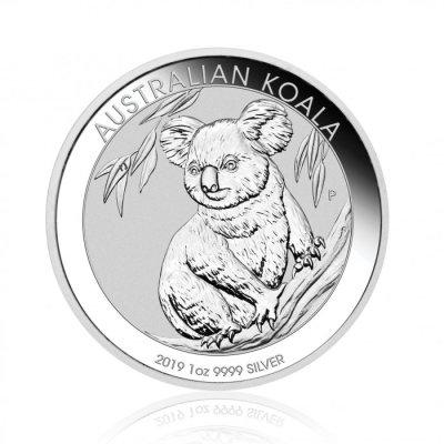 Stříbrná investiční mince Australian Koala 31,1 g - první strana