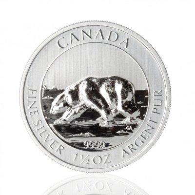 Stříbrná investiční mince Canada Polar Bear 46,66 g - první strana