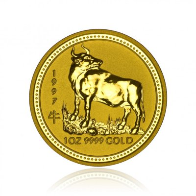 Zlatá investiční mince Australský Lunární rok 1997 Buvol 31,1 g - první strana