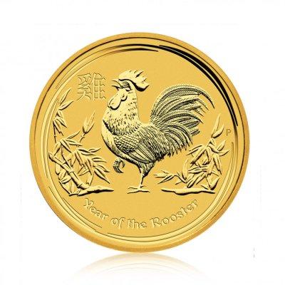 Zlatá investiční mince Australský lunární rok 2017 Kohout 7,78 g – první strana