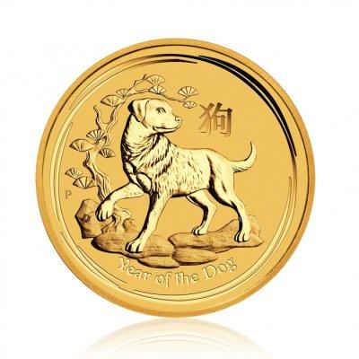 Zlatá investiční mince Australský lunární rok 2018 Pes 1/4 Oz – první strana