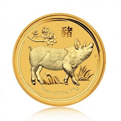 Zlatá investiční mince Australský lunární rok 2019 Vepř 7,78 g - první strana
