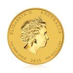 Zlatá investiční mince Australský lunární rok 2015 Koza 31,1 g - druhá strana