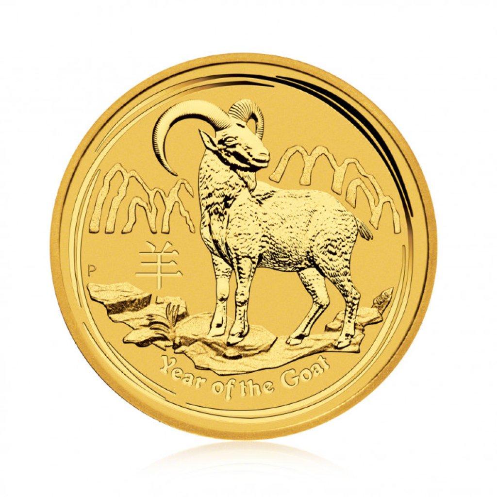 Zlatá investiční mince Australský lunární rok 2015 Koza 31,1 g - první strana